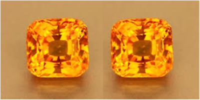 2 SAPHIRS CUSHION PADPARADSCHA ORANGE 9x9 mm. VRAC DIAMANT-BRILLANT DURETÉ 9