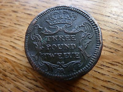 Very Rare Portugal 1747 'Coin Weight Three Pound Twelve' For Gold Coin