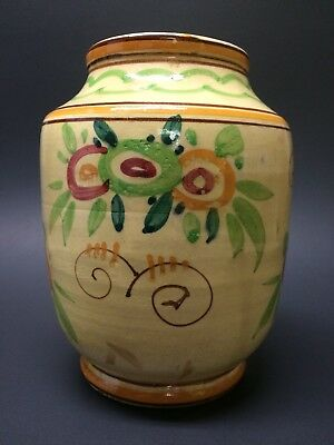 Antique Hand Painted Italian Vase or Planter Floral Ceramic Pottery