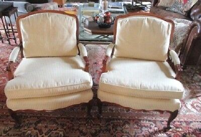 Pair of Vintage Bergere Chairs Cherry Hard Wood Frame