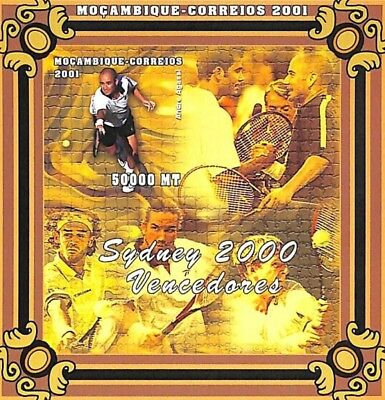 [36565] **/Mnh- Mozambique 2001 - Sydney 2000 - ND/Imperf, Tennis, André Agassi