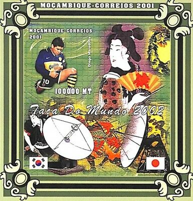 [36590] **/Mnh- Mozambique 2001 - Faça Da Mundo 2002 - ND/Imperf, Football, Dieg
