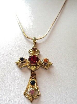 "Stunning Vintage Estate Gold Plated Cross Religious God 22"" Necklace!!! 1010Y"