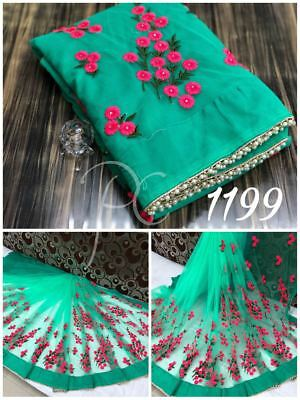 net & blouse Eid Embroidery Work Style Sari Indian Party Wear Saree bollywood 60