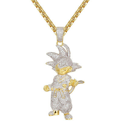01d6238c51581 MENS CUSTOM CARTOON Character Super Saiyan Pendant Iced Out 14k Gold Finish  NEW