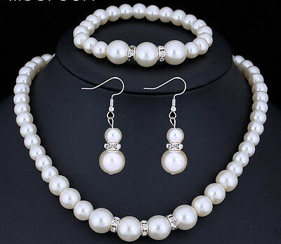 Jewelry Set White Simulated Pearl Drop Earrings Bracelet Necklace