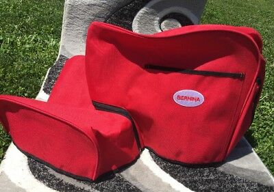 Two Piece Red BERNINA Sewing Machine Dust Cover Zippered Artista