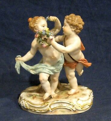Meissen Figurine # 2996 Putti Couple Dancing with Flowers