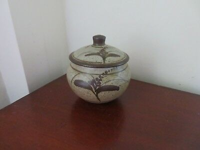 David Leach Lowerdown Pottery large preserve pot and cover, foxglove, excel cond