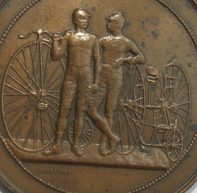 Medaille medal 1891 Fahrrad Hochrad penny farthing antique bicycle velo ancien
