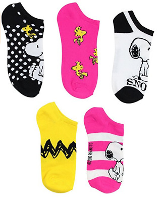 Peanuts 5 Pack No Show Socks Snoopy, Woodstock And Charlie Brown  FREE  SHIPPING