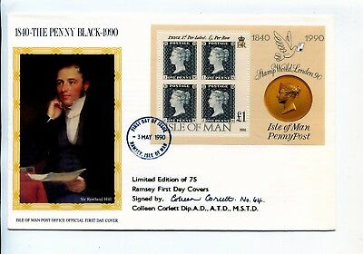 Isle Of Man 1990 Le Signed Penny Black Min Sheet Fdc Canc Ramsey