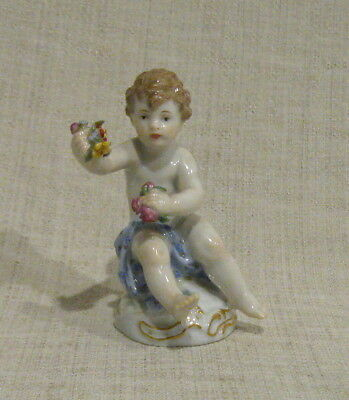 "Meissen 3"" Figurine # O 197 Seated Putti with Flowers"