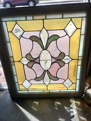Nouveau American Architectural Stained Leaded Glass Heavy Beveled Antique Window