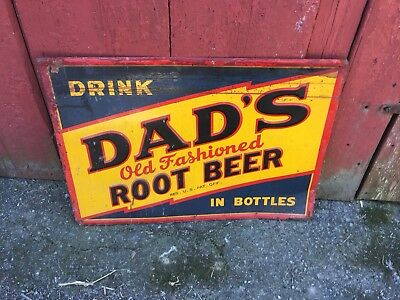 Original OLD Dad's Root Beer Sign. Just Out Of Old Barn. A Find. No Repro