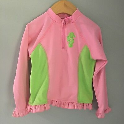 Lands End Pink Long Sleeve Rash guard Seahorse 24 Months
