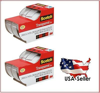 """2 lots of 2ea 3M Scotch Clear Office Transparent Tape 3/4"""" 250"""" (4 tapes total)"""