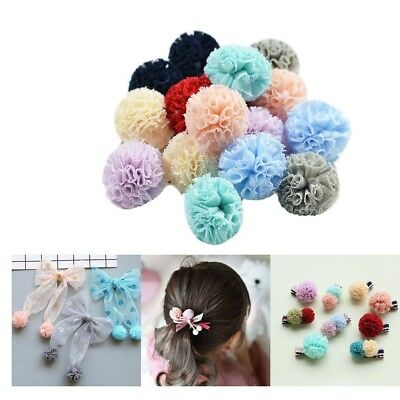 16pc 25mm Women Fashion Mesh Pompom Balls For Hair Band Bow Clip Decorations