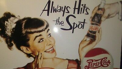 """Pepsi Cola Tin Sign """"Always Hits the Spot"""" Collectible"""