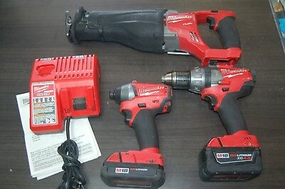Milwaukee 18V Brushless Drill and Saw Set - 2 Batteries and Charger - Sawzall