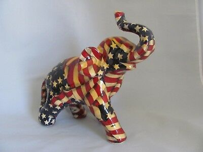 LaVie Fine Ceramic Elephant with Patriotic Patchwork American Flag