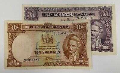 New Zealand One Pound Note P159d and Ten Shilling note P158c XF and VF