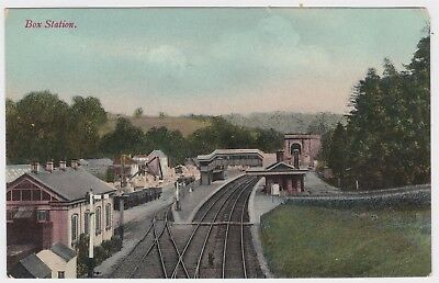 Box Railway Station Wilshire England  OLD POSTCARD c1908