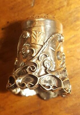 Art Nouveau Vintage Antique Abstract Floral Sterling Silver #2 Thimbol Not Scrap