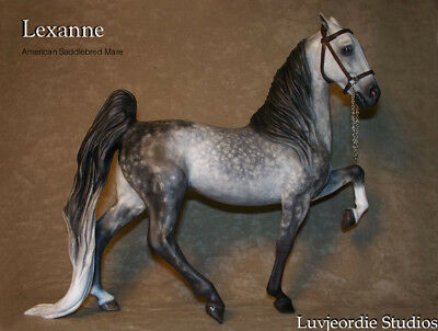 Peter Stone CM American Saddlebred Mare Dappled Grey With Show Halter