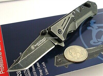 Smith & Wesson ExtremeOps Small Stonewash Tanto Folder Knife Belt Cutter SWCK405