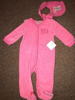 NWT Juicy Couture Baby Girl Size 3/6 Months Stretchie with matching Bib msrp $58