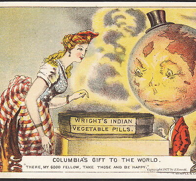 Indian Pills 1877 Miss Columbia Earth Anthropomorphic World Victorian Trade Card