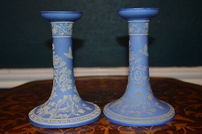 "Gorgeous Nippon Pair 6 1/4"" Candle Holders Wedgwood Flowers-Butterflies mark#47"