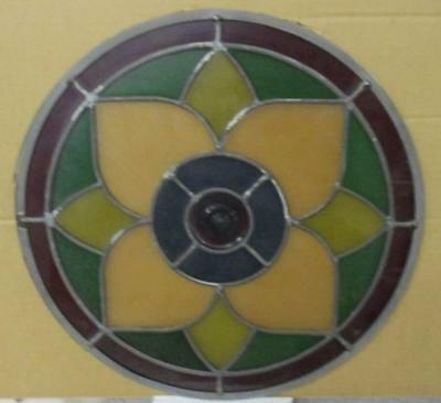 "OLD ENGLISH STAINED GLASS WINDOW Majestic Floral Circle 16.5"" Diameter"