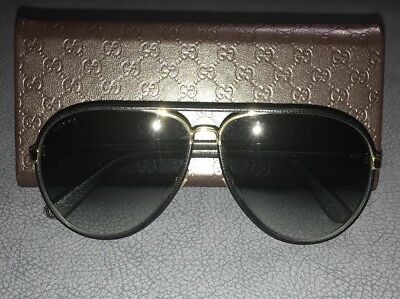 b6fa8e3236515 Authentic Gucci Unisex Black Leather   Gold GG 2887 S UZAJJ Aviator  Sunglasses
