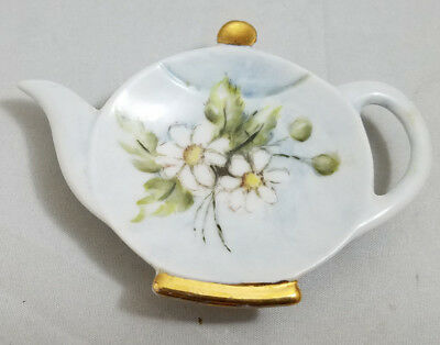 Vintage Ceramic Teapot Shaped Teabag Holder DAISY? 1978