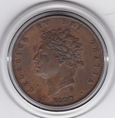 Very  Sharp  1827  King  George  IV  Half   Penny  (1/2d)  Copper  Coin