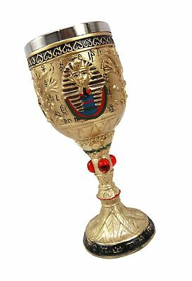 Ancient Egyptian Pharaoh King Tut Resin Wine Goblet Chalice With Stainless St...