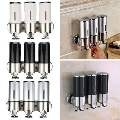 3x500ML Wall Mounted Bathroom Shower Soap Dispenser Liquid Soap Shampoo Bottles