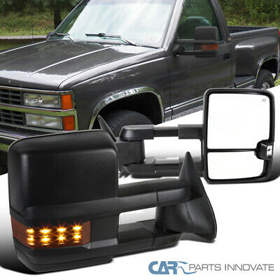 Chevy 88-00 C/K 1500 2500 3500 Tahoe Power Heated Towing Side Mirrors+LED Signal