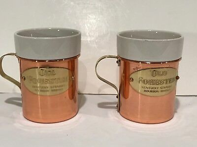 Two (2) Old Forester Copper and Porcelain Bourbon Whiskey Cups
