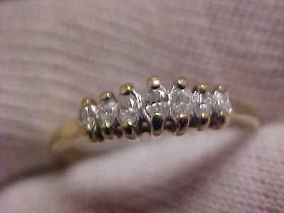 10k SCRAP GOLD 1.77 grams 7-Marquise DIAMOND GOLD Lady's Ring,NO RESERVE AUCTION