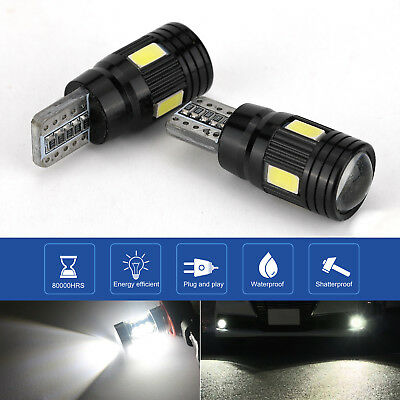 2x 6000K T10 LED Daytime Fog Lights Bulb License Plate Light Super Bright White