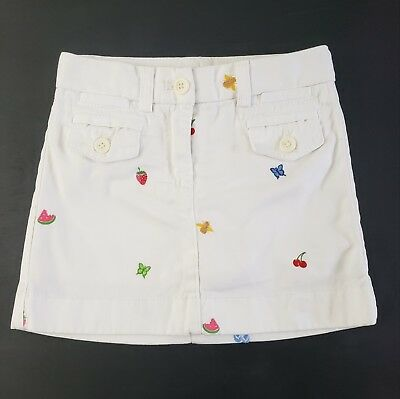 Crewcuts Skirt Girls Size 4 Kids White Embroidered Fruit
