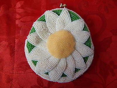 Vintage 1960's Beaded DeLill Japan SUNFLOWER FLORAL Coin Purse JAPAN