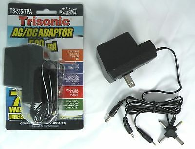 Universal ac/dc power adapter output 3V 4.5V 6V 7.5V 9V 12V 500mA 2 sony plug