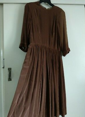 "vintage dress 50's pure cotton velvet hand made brown fully lined waist 30"" sz12"