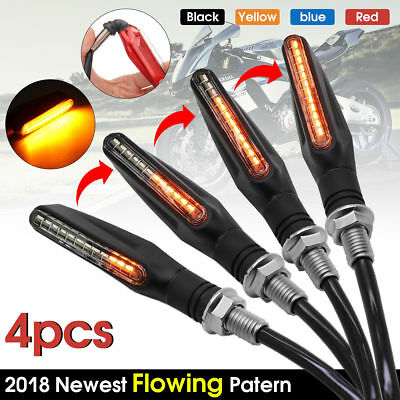 4x Motorcycle LED Turn Signal Lamp Sequential Flowing Indicator Light Amber