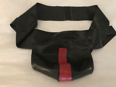 Mens black rubber jock strap with Red Stripe - Fit 34/36in Waist - Gay Interest