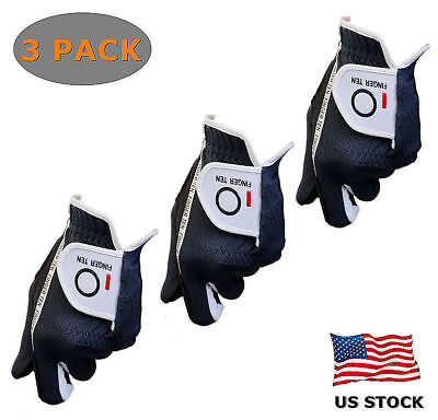 Golf Glove Men Left Right Hand 3 Pack Value Black Gray Fit Soft Grip No Sweat Lh